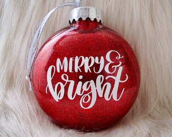 Merry and Bright Christmas Tree Ornament - Glittery Disc Ornament - Available in Red, Green, and Champagne