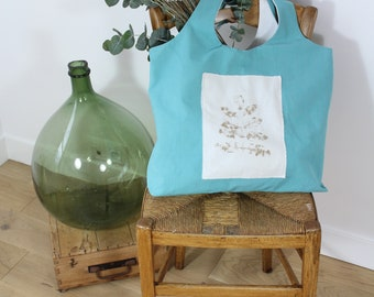 large bag tote bag pale green fabric in elegant cotton - chic / light green tote / shopping bag bag / totebag evjf / gift for her