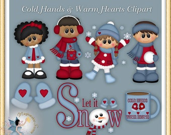 Christmas Clipart, Winter Holiday, Cold Hands, Warm Hearts