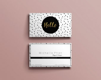 Business card design etsy business card template black and white ink dot modern business card design reheart Choice Image