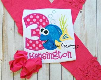 Girl fish shirt, Fish shirt, Fish birthday shirt- Girl's Birthday shirt- Birthday Girl shirt- Monogram birthday shirt- Birthday Girl shirt