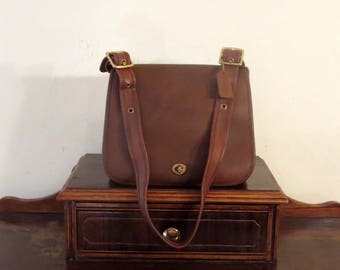 Etsy BDay SaleCoach Stewardess Bag In Mocha (Brown)  Leather With Brass Hardware Style No 9525 Made In United States- VGC
