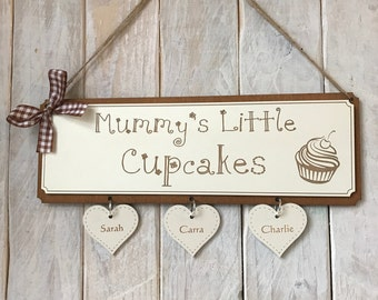Mothers Day Gift Plaque - Mummy's Little Cupcakes