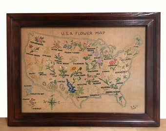Framed Wildflower Map Embroidery - 1960