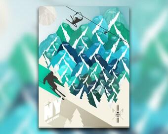 Ski New York • Winter Mountain NY Poster • Adirondacks & Catskills • Skiing Graphic • Snow Sports Artwork • Wall Art Design • Home Decor