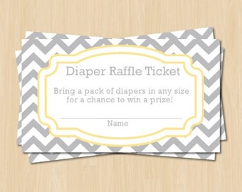 Diaper Raffle Ticket - Light Grey and Yellow Chevron Baby Shower Game - Instant Download