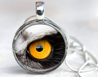 Owl's Eye Glass Dome Necklace, Glass Pendant Birds Eye Photo Picture Necklace Photo Pendant
