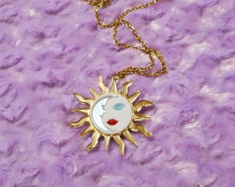 Long SUN & MOON Pendant Necklace with Gold Chain / 90's / Witchy / Celestial Acrylic Tarot Jewelry