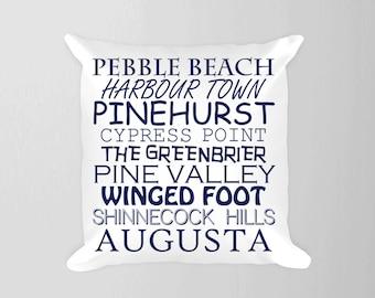 Golf Courses Pillow, Sports Room Pillow, Golf Nursery Art, Famous Golf Courses Decor, Sports Nursery Pillow, Nursery Sports Decor Navy Boy