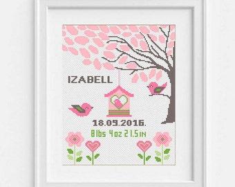 Baby Cross Stitch Pattern Birth Announcement Record Personalised sampler Baby girl shower gift Cute Birds Nursery animal Gift Diy birthday