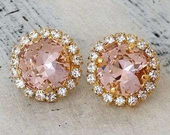 Blush earrings,Blush pink stud earring,Blush bridal earring,Blush pink bridesmaid gift,Blush pink wedding,Swarovski earring,crystal gold