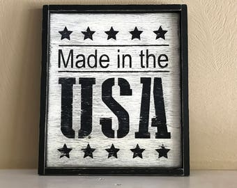 """Made In the USA Sign, Rustic Patriotic Sign, Farmhouse Sign, 11""""W x 12.5""""H"""