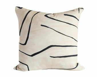 Graffito Linen/Onyx designer pillow covers - Made to Order - Kelly Wearstler