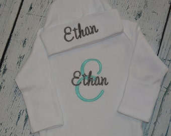 Monogrammed Baby Gown and  Hat Set - Coming Home Outfit  Infant Gown and Cap set Personalized