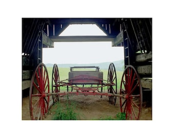 Fine Art Color Photography of an Old Wagon in a Barn in Appalachia in the Smoky Mountains for  Rural Americana Farmhouse Decor