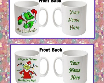 The Grinch Christmas Printed Boxed Mugs ~ 2 options to choose from ~ Can be personalised