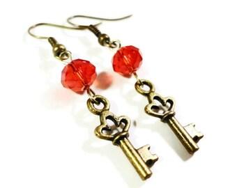 Key Charm Earrings, Ruby Red Crystal Bead Earrings, Beaded Dangle Earrings, Bronze Key Earrings, Drop Earrings, Beadwork Jewelry, Gift Idea