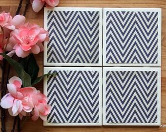 Coaster Set - Table Coasters - Navy Blue Coasters - Coaster - Tile Coaster - Chevron Decor - Coasters for Drinks - Coasters Tile