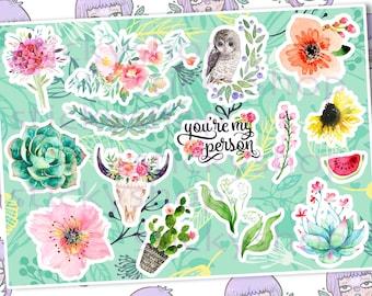 Nature cute sticker set #g7 stickers set story, decals, flora vinyl tumblr, tumblr stickers, waterproof paper, original art print, neckline