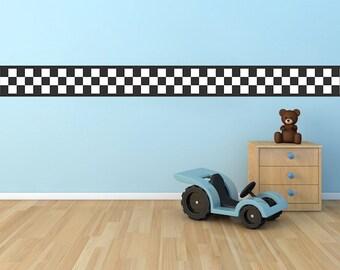 Race Car Boys Room Checkered Flag Border Wall Decal, Checkered Flags Race Car Flag Decal, Final Lap Wall Art Decal, Racing Wall Decal, b42