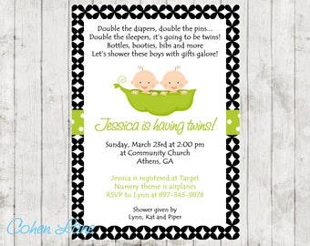 Twins Invite. Two Peas In A Pod Invitation.  Twins Baby Shower Invite.  Twins Invitation.  Baby Shower Invitation.  Chevron