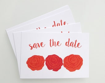 12 Save the Date Postcards - Red Roses