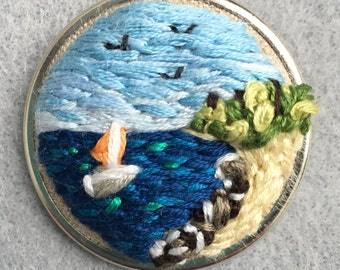 Nautical Hand-Embroidered Brooch - Original Design