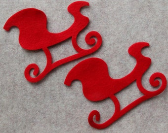 ALL RED - Large Sleighs - 6 Die Cut Felt Shapes