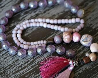 Light Purple Tassel Necklace - Purple Multi Strand Necklace - Ceramic - Rustic Purple - Chunky Purple Necklace - Bead Soup Jewelry