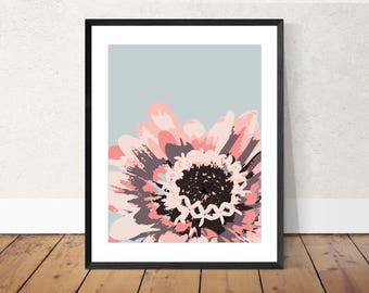 Minimalist wall art, floral wall art, simple flower print, Zinnia print, home decor, modern print