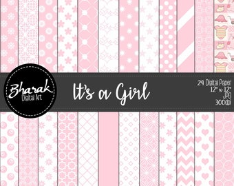 Its a Girl Digital Paper. Digital Baby Shower paper Girl.
