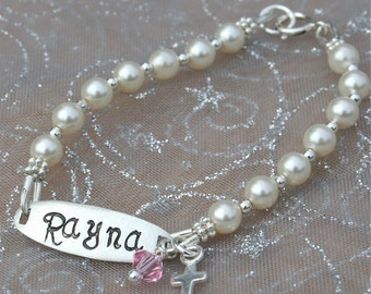 Sweet Pearls - Initial Sterling and Pearl Bracelet -Baptism/Communion/Confirmation/Newborn