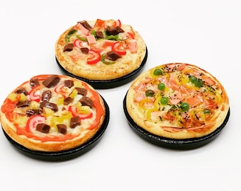 Miniature Pizza 3 pieces,Miniature food for dollhouse
