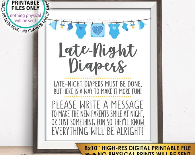 """Late Night Diaper Sign, Late-Night Diapers Sign the Diaper Thoughts, It's a Boy, Blue PRINTABLE 8x10"""" Instant Download Baby Shower Game Sign"""
