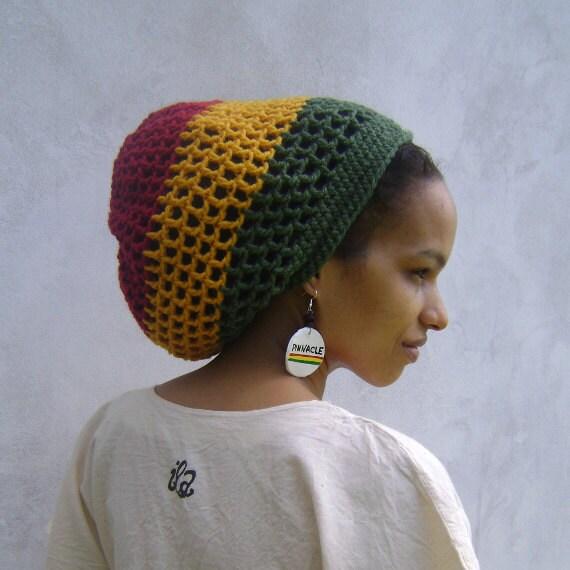 ILA Rasta Dread Nett Crochet Tam/ Ethiopia Red Gold Green/ Dreadlock Hats For Men