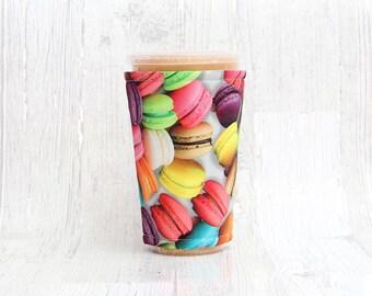 Macarons Cup Cozy, Iced Coffee Cozy, Cup Sleeve, unicorn Coffee Cozy, Coffee Cuff, Macaroons
