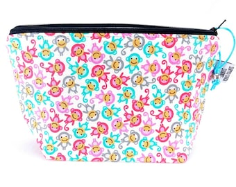 Gusseted Zipper NOTIONS POUCH with zipper pull - Good Little Monkey