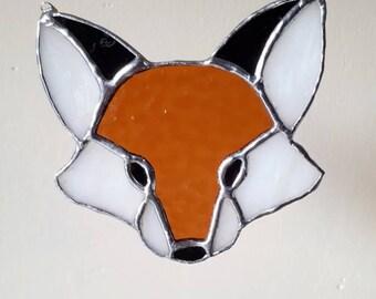 Stained glass fox suncatcher