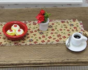 Miniature Table Runner / Dollhouse Table Runner / Table Topper / Miniature Dining Table / Gold with Red Flowers / 1:12 Scale