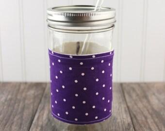 Purple Polka Dot Print Mason Jar Sleeve - for PINT AND A HALF Mason Jar (24 oz)