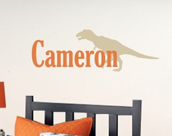 T-Rex Name Decal - Dinosaur Wall Decal - Boy Bedroom Decor