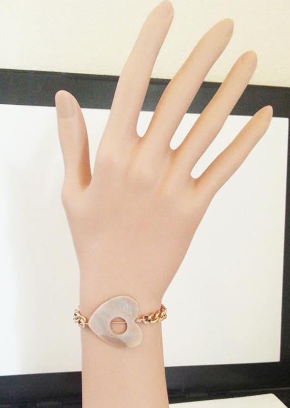 heart shell charm bracelet gold chain bracelet heart jewelry shell beach romantic nautical handmade jewelry