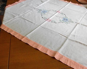 "Cross Stitch DAISY TABLECLOTH Pink & Blue Flowers Green Leaves Med Wt Washable Cotton, 1930s Embroidered Handmade Table Linen 40"" by 42"""