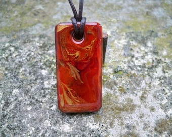 concrete painted resin pendant