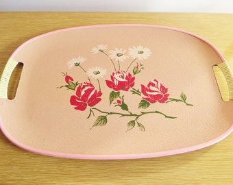 Vintage Tray with Handles - Mid Century Pink Resin Tray with Hand Painted Roses - Retro 1950s