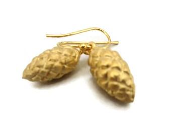 Raffia Seed Pod Earrings, Gold Vermeil Drops,  Small Gold Dangle Earrings, Seed Pod Jewelry   Artisan Handmade by Sheri Beryl