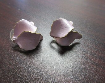 Metallic Pink Flower Petals Earrings Signed Cerrito Original 1982