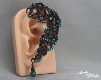 gothic ear wrap - gothic ear cuff, crystal ear wrap, mourning jewelry, black jewelry, victorian jewelry, gothic jewelry, gothic gift for her