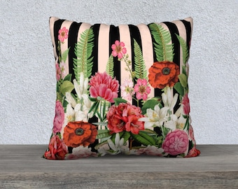 Vintage Flowers and Ferns Pink & Black Stripe Cushion Cover