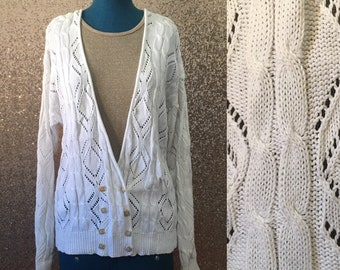 vintage white cable knit cardigan